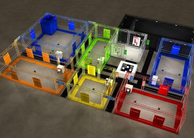 Plan 3D pour aménagement stand 900 m2